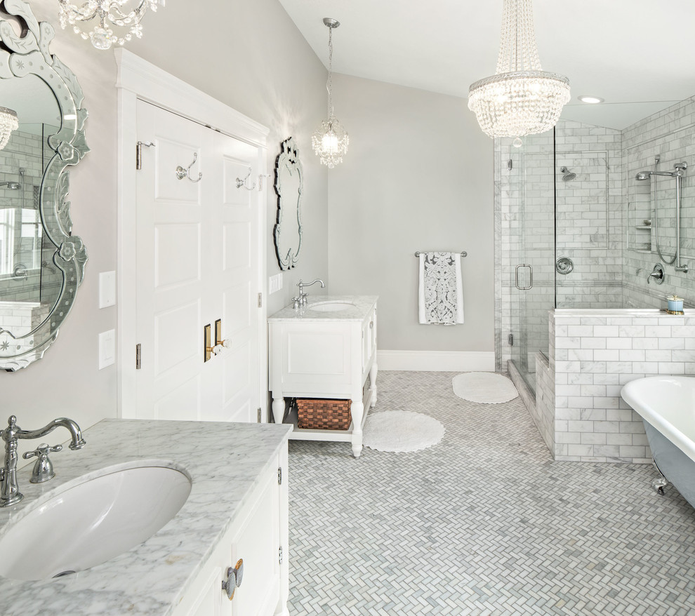 Grey And White Marble Bathroom: White Marble Bianco Carrara