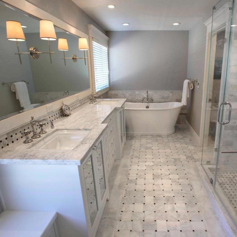 Calacatta Gold Marble Bathroom Flooring