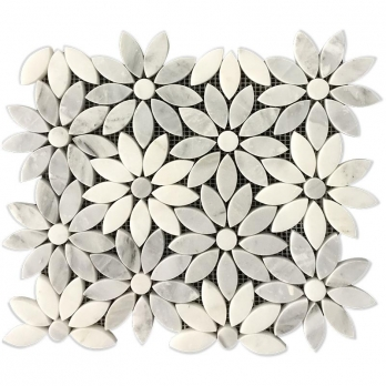 white mosaic wall decor