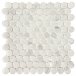 Round White and Taupe Carrara Marble Mosaic Tile