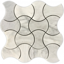 weaved white carrara marble mosaic
