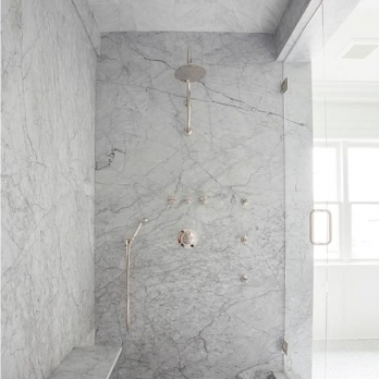 Shopping Online Polished Cararre White Marble Shower Wall
