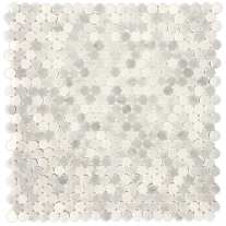 little round white marble mosaic for paving