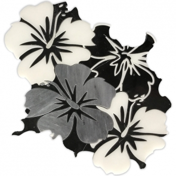 Black And White Waterjet Marble Mosaic Tile