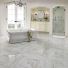 Polished white marble with grey veins