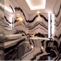 Bathroom Polished panda white marble