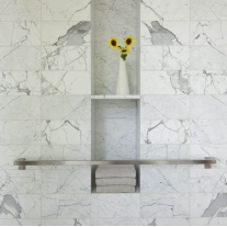 Polished calacatta marble bathroom