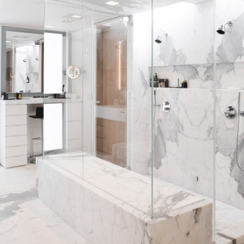 Calacatta bathroom tiles honed surface
