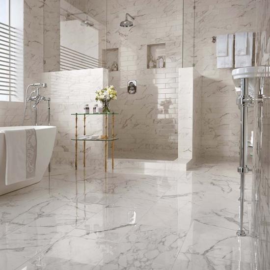 Best Bathroom Polished Statuario Marble Tiles