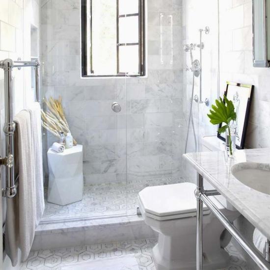 Polished Marble Subway Tile Shower