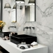 Polished carrara marble tile bathroom