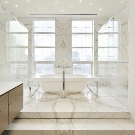 Polished Carrara Marble Tile Bathroom Polished Carrara Marble Tile Bathroom  ...