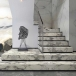 Statuary white marble slab for hotel stairs